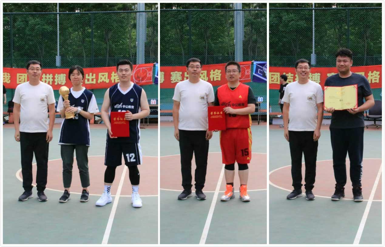 从左至右:党委副书记刘运龙老师为冠、亚、季军团队代表颁奖